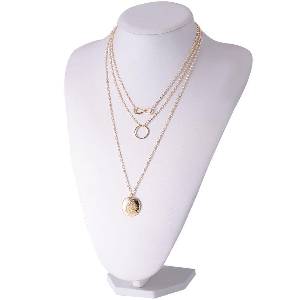 Dull Polished Infinity Round Pendant Necklace - GOLDEN