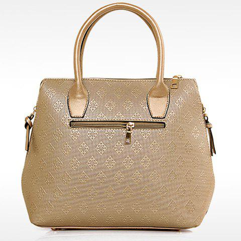 Trendy Metal and Embossing Design Women's Tote Bag - PLATINUM