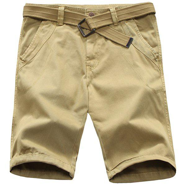Trendy Straight Leg Pure Color Zipper Fly Men's Shorts - DARK KHAKI 33