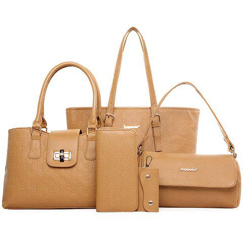 Fashionable Embossing and Solid Color Design Women's Shoulder Bag - EARTHY