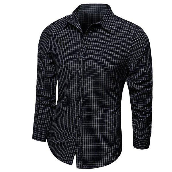 Color Block Checked Turn-down Collar Long Sleeves Men's Shirt - BLACK M