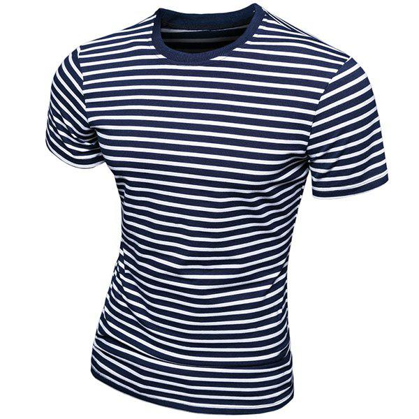Trendy Round Neck Stripes Printed Short Sleeve Men's T-Shirt - M BLUE
