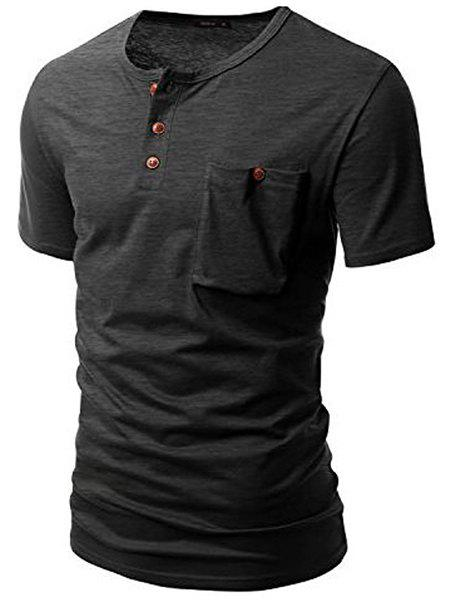 One Pocket Multi-Button Round Neck Short Sleeves Men's T-Shirt - GRAY L