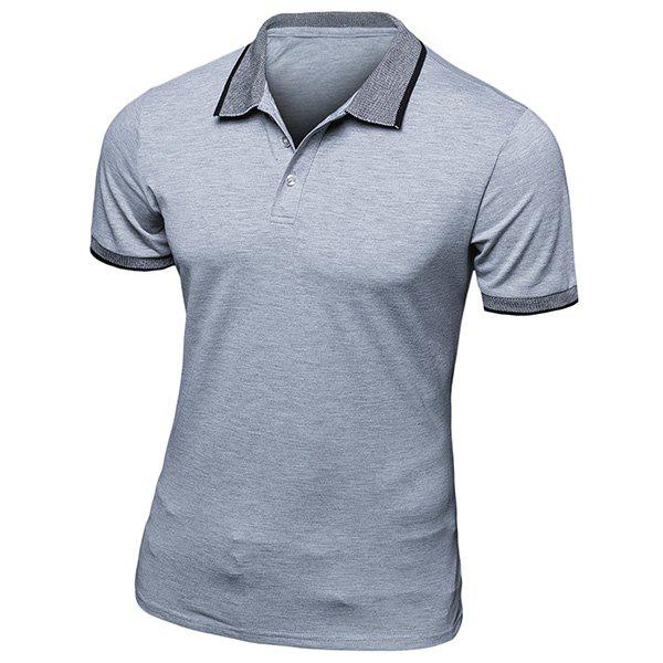 Simple Turn-Down Collar Short Sleeve Mens Polo T-ShirtMen<br><br><br>Size: L<br>Color: GRAY