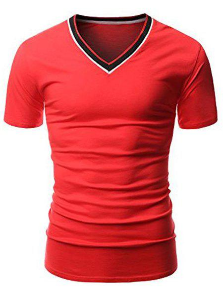 Simple V-Neck Hit Color Spliced Short Sleeve Men's T-Shirt - RED M