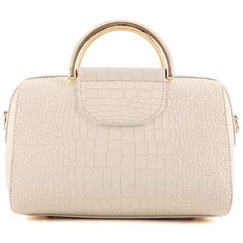 Stylish Solid Colour and Embossing Design Women's Tote Bag
