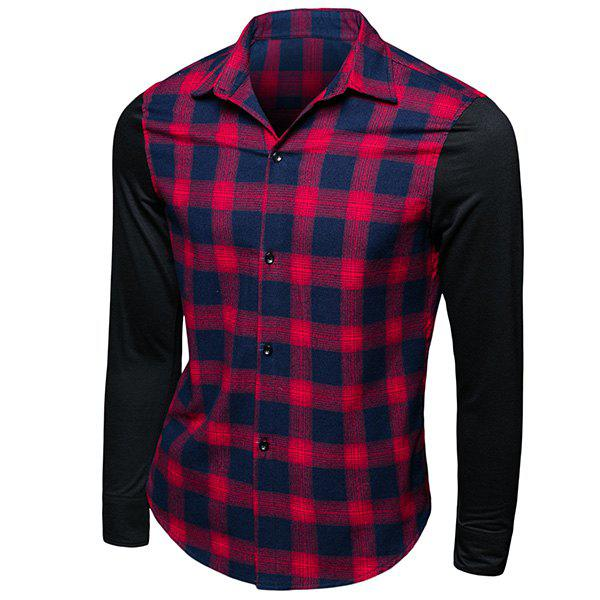 Trendy Turn-Down Collar Tartan Printed Long Sleeve Men's Shirt - CHECKED L