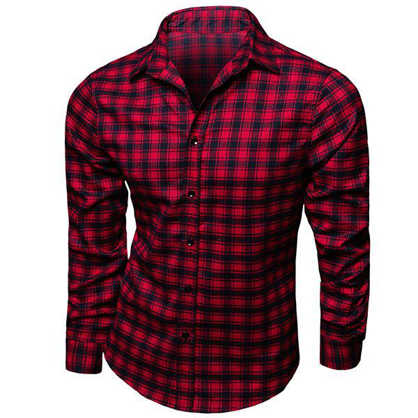 Modish Turn-Down Collar Plaid Printing Long Sleeve Men's Shirt - CHECKED M