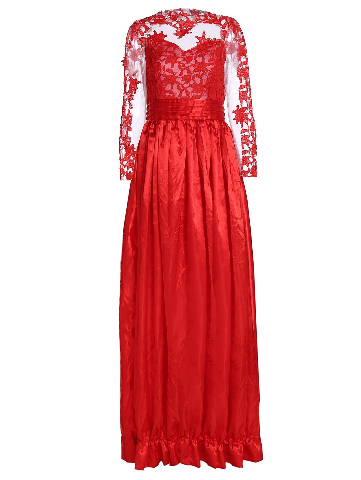 Noble Long Sleeve Ruffled Collar Lace Splicing See-Through Women's Prom Dress - RED L
