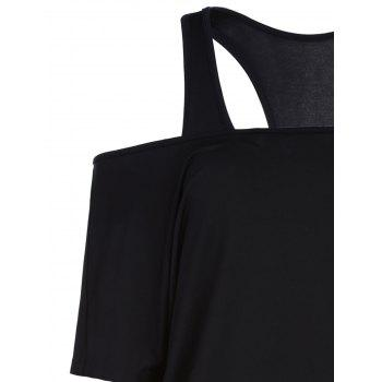 Stylish Racerback Tank Top and Lace Splicing Off The Shoulder Dress Twinset For Women - BLACK S