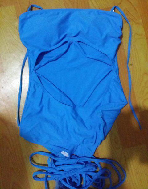 Sexy Women's Halter Hollow Out Swimsuit - LAKE BLUE XL