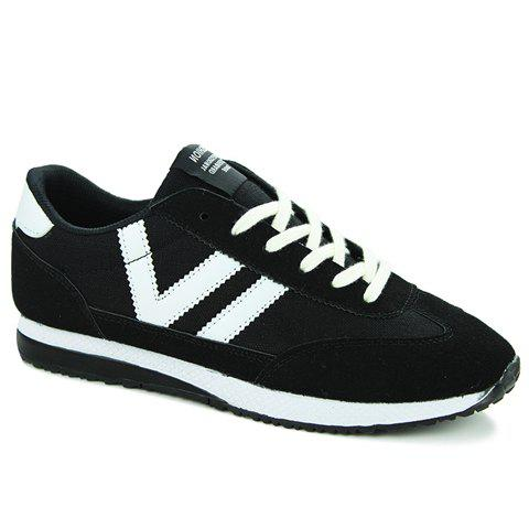 Leisure Color Matching and Lace-Up Design Men's Athletic Shoes - BLACK 41