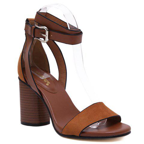 Casual Buckle Strap and Chunky Heel Design Sandals For Women - BROWN 36
