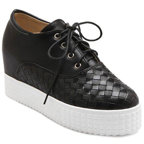 d366d0bd0a7 Fashionable Solid Color and Weaving Design Women s Platform Shoes - BLACK 37