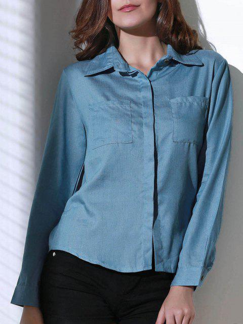 Trendy Shirt Collar Long Sleeve Denim Shirt For Women - BLUE M