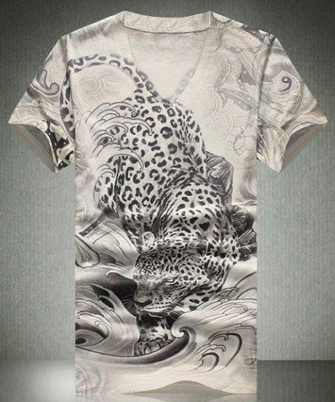 f06227ecffa45 Fashion V-Neck 3D Leopard Print Short Sleeves Men s T-Shirt - COLORMIX XL