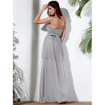 Alluring Strapless Sleeveless Sequined Spliced Women's Maxi Dress - GRAY S
