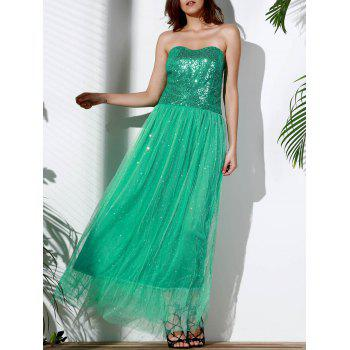 Alluring Strapless Sleeveless Sequined Spliced Women's Maxi Dress