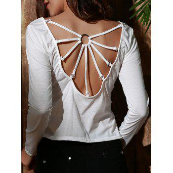 Stylish Women's Scoop Neck Long Sleeve Backless T-Shirt