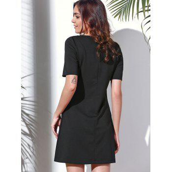 Vintage Short Sleeve Round Neck Embroidered Women's Dress - BLACK S