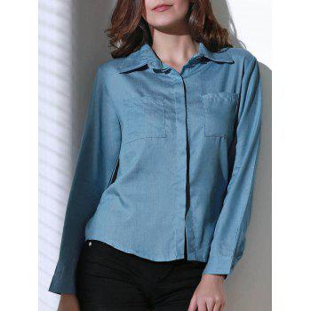 Trendy Shirt Collar Long Sleeve Denim Shirt For Women