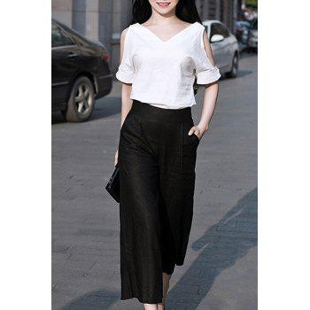 Chic Half Sleeve V Neck Cut Out Blouse + High-Waisted Ankle Pants Women's Twinset