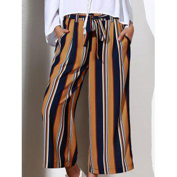 Chic High-Waisted Pocket Design Striped Women's Cropped Pants