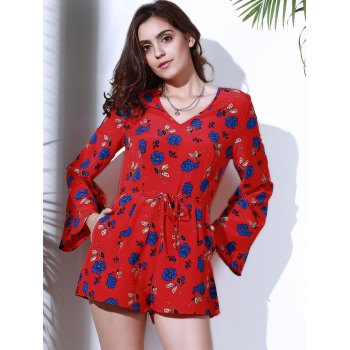 Chic Long Sleeve V Neck Floral Print Women's Romper - RED L