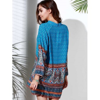 Ethnic Style 3/4 Sleeve Stand Collar Printed Women's Dress - BLUE S