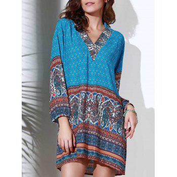 Ethnic Style 3/4 Sleeve Stand Collar Printed Women's Dress