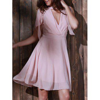 Chic Sleeveless Stand Collar Cut Out Women's Chiffon Dress