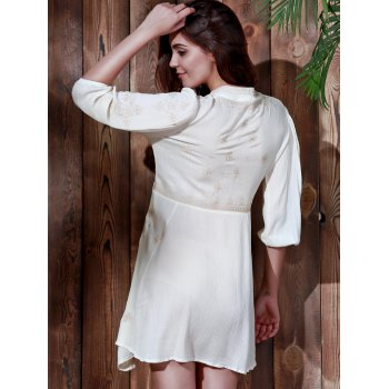 Embroidered Plunging Waist Tied Dress - OFF WHITE L