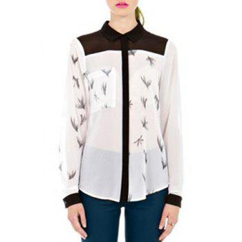 Stylish Long Sleeve Print See-Through Shirt For Women