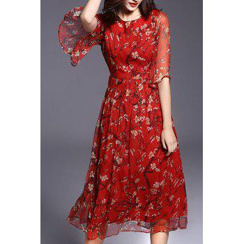 Bohemian Style Women's Round Collar Floral Print Half Sleeve Midi Dress - RED 2XL