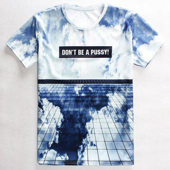 3D Sky Print Round Neck Short Sleeves Men's T-Shirt