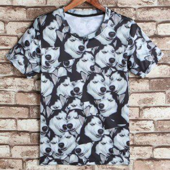Round Neck 3D Dog Print Short Sleeves Men's Funny T-Shirt