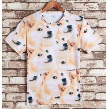 Funny Dog Print Round Neck Short Sleeves Men's 3D T-Shirt