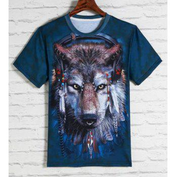 3D Indian Wolfhound Print Round Neck Short Sleeves Men's T-Shirt - BLUE BLUE