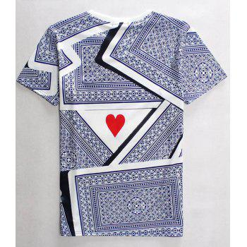 3D Playing Cards Print Round Neck Short Sleeves Men's T-Shirt - COLORMIX M