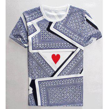 3D Playing Cards Print Round Neck Short Sleeves Men's T-Shirt