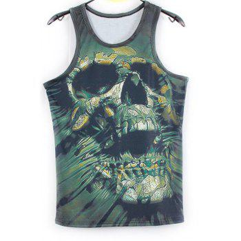 Fashion 3D Skull Printed Tank Top For Men - GREEN L
