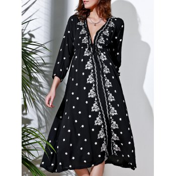 Refreshing Embroidered Plunging Neck 3/4 Sleeve Midi Dress For Women
