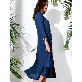 Vintage Embroidered V-Neck 3/4 Sleeve Pleated Calf Length Dress For Women - DEEP BLUE M