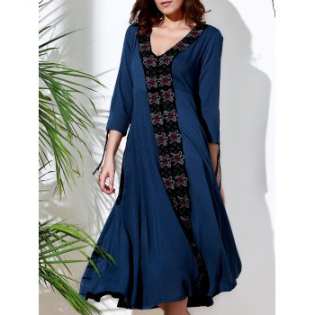 Vintage Embroidered V-Neck 3/4 Sleeve Pleated Calf Length Dress For Women