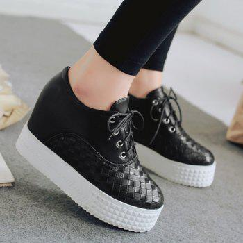 Fashionable Solid Color and Weaving Design Women's Platform Shoes - 39 39