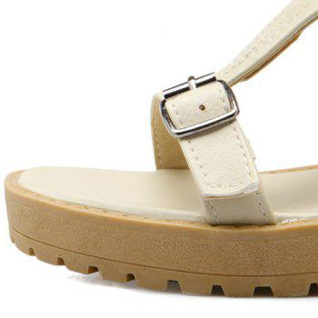 Zip Back Hollow Out Mid Calf Sandals - OFF WHITE 38