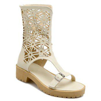 Zip Back Hollow Out Mid Calf Sandals