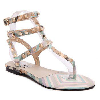 Sweet Flip Flops and Rivets Design Sandals For Women