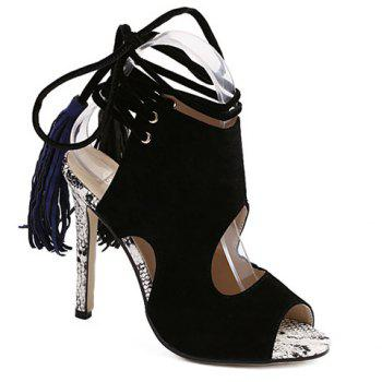 Sexy Lace-Up and Suede Design Sandals For Women