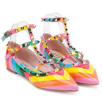 Sweet Color Block and Patent Leather Design Flat Shoes For Women - 35 35